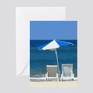 Beach Chairs and Umbrella Greeting Card