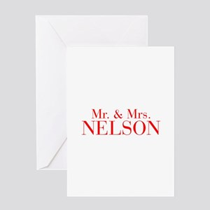 Mr Mrs NELSON-bod red Greeting Cards