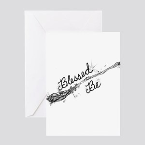 Blessed Be with Broom Greeting Cards