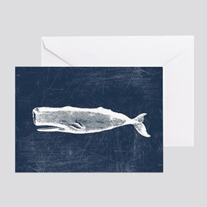 Vintage Whale White Greeting Card