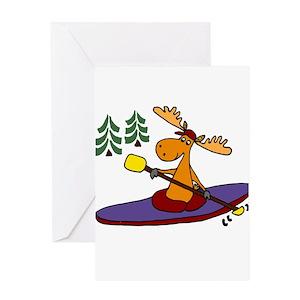 Kayaking Moose Greeting Cards