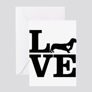 i love Dachshund Greeting Cards