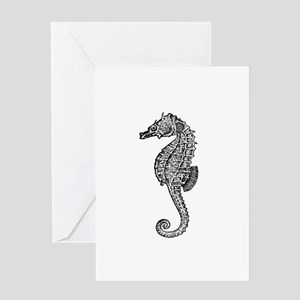 Vintage Seahorse illustration Greeting Cards