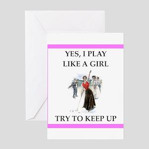 Girls Golf Greeting Cards
