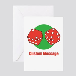 One Line Custom Dice Craps Design Greeting Cards