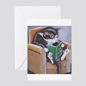 Reading Cat Greeting Card