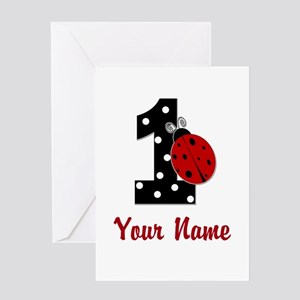 1 Ladybug ANY NAME! Greeting Cards