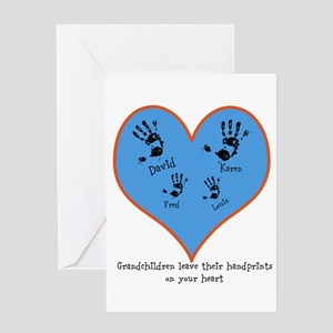 Personalized handprints 4 grandkids Greeting Cards
