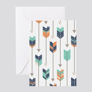 Tribal Arrows Pattern - Navy Orange Greeting Card