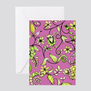 Green Floral on Pink Greeting Card
