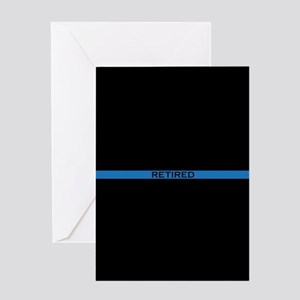 Retired Thin Blue Line Greeting Card