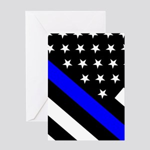 Police Flag: Thin Blue Line Greeting Card