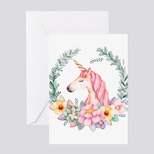 Pink Unicorn Greeting Cards