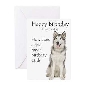 Funny Husky Birthday Greeting Cards