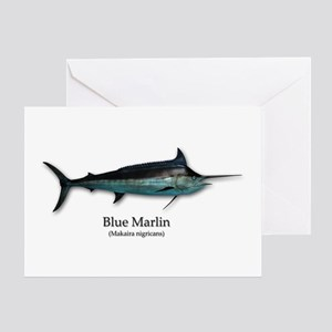 Blue Marlin Greeting Cards