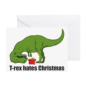 T Rex Christmas.T Rex Hates Christmas Greeting Card