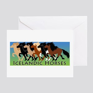 Icelandic Horses Tolting Greeting Cards