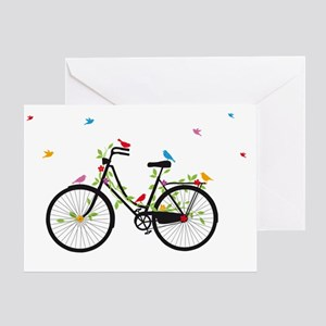 Old vintage bicycle with flowers and Greeting Card