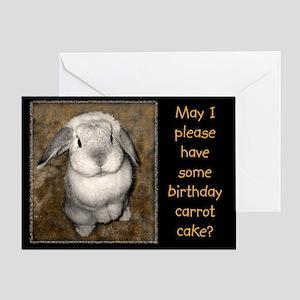 Begging Bunny Birthday Greeting Card