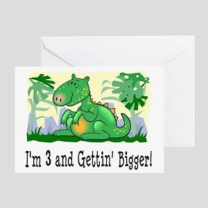 Im 3 Dinosaur Birthday Greeting Card