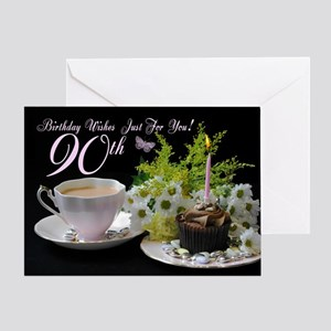 90th Birthday Greeting Card With Tea Cake Flowers