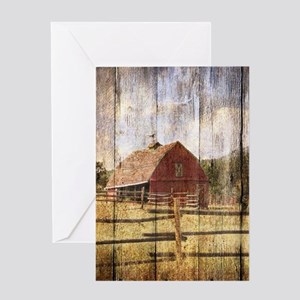western country red barn Greeting Cards