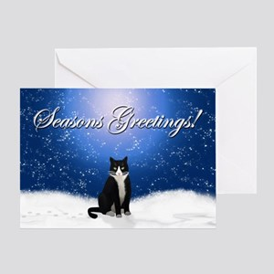 Tuxedo Cat Seasons Greetings Card