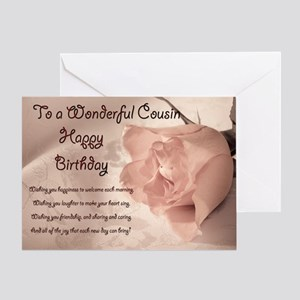 For Cousin Elegant Rose Birthday Card Greeting C