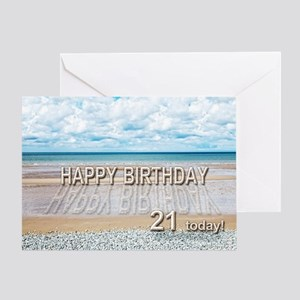 21st birthday, writing on a beach Greeting Cards