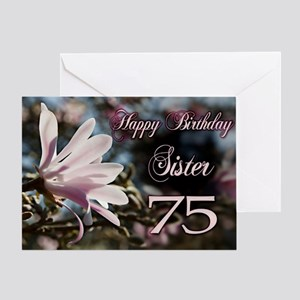 75th Birthday card for sister with magnolia Greeti
