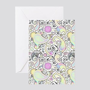 Pastel paisley Greeting Cards