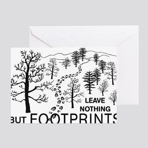 Leave Nothing but Footprints BLK Greeting Card