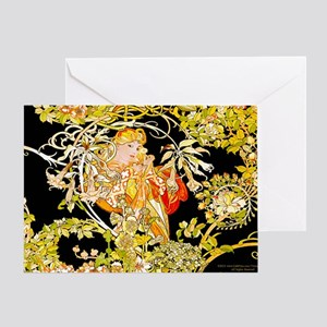 Laptop Mucha Color Marguerite Greeting Card