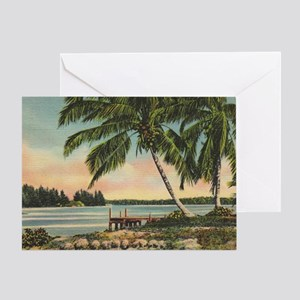 Vintage Coconut Palms Greeting Card