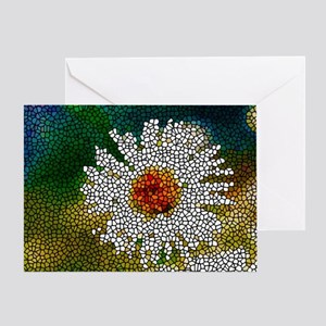 Stained Glass White Flower Greeting Card