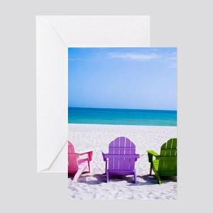 Lounge Chairs On Beach Greeting Cards
