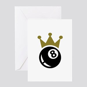 Eight ball billiards crown Greeting Card