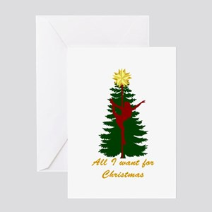 All I Want for Christmas Yellow Greeting Cards