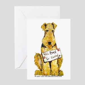 Airedale Terrier Bark for Food Greeting Card