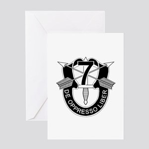 7th Special Forces - DUI - No Txt Greeting Card