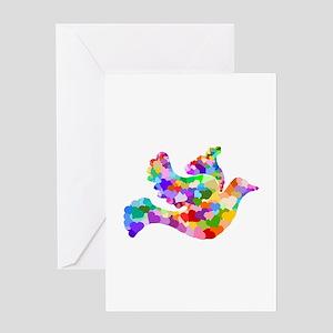 Rainbow Dove of Hearts Greeting Card