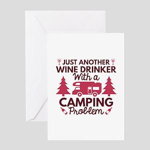 Wine Drinker Camping Greeting Card