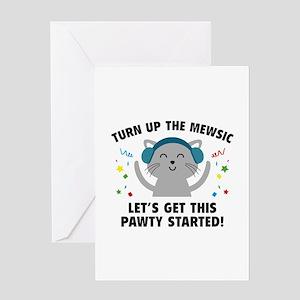 Turn up The Mewsic Greeting Card