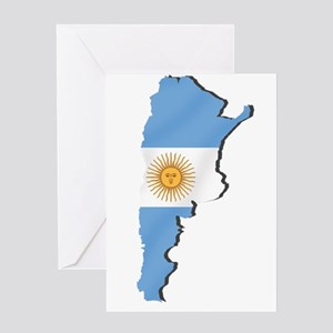 Argentina Flag Map Greeting Cards
