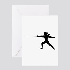 Girl Fencer Lunging Greeting Cards
