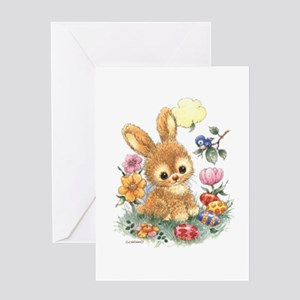 Cute Easter Bunny With Flowers And Greeting Cards