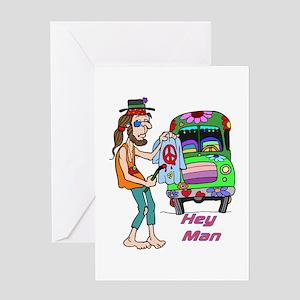 Hey Man- Hippie & Van Greeting Card
