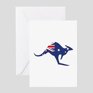 australian flag kangaroo Greeting Card