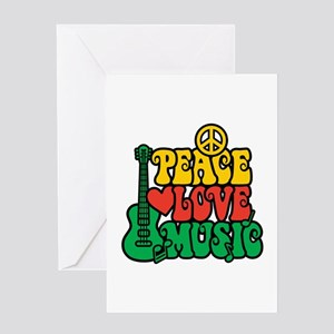 Reggae Peace Love Music Greeting Cards
