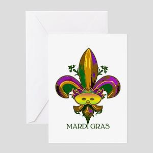 Masked Fleur de lis Greeting Card